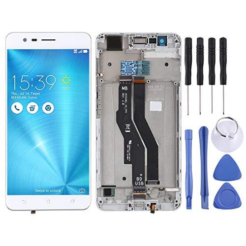 Pantalla LCD del teléfono móvil Montaje Completo de Pantalla LCD y digitalizador con Marco para ASUS Zenfone 3 Zoom ZE553KL Pantalla LCD (Color : Blanco)