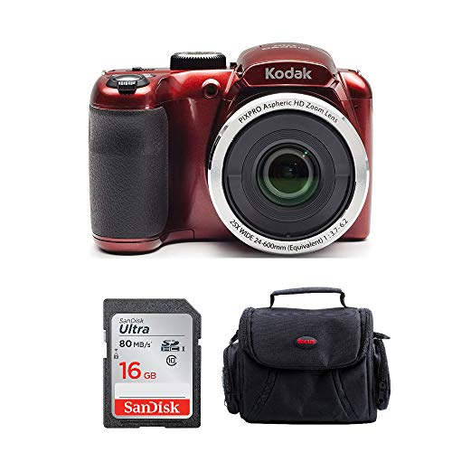Kodak PIXPRO AZ252 Point and Shoot Digital Camera with 3-inch LCD (Red) Bundle and 16GB SD Card and Case