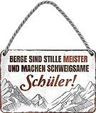 Cartel de chapa con texto en alemán 'Berge sind Stille Meister' decorativo, para puerta de montaña, viajes, Austria, esquís de metal, cartel divertido regalo de cumpleaños o Navidad 18 x 12 cm