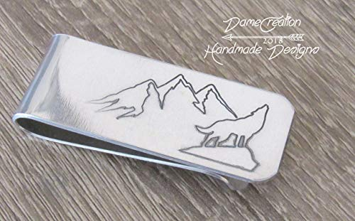 Wolf Money Clip, Wolf Gifts, Wolf Gifts for Men, Silver Money Clip, Christmas Gifts for Boyfriend