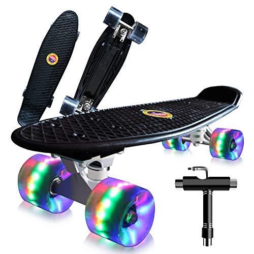 Saramond Skateboards Komplette 55cm Mini Cruiser Retro Skateboard für Kinder Teens Erwachsene Anfänger, Bunte LED-Räder mit All-in-One Skate T-Tool für Schule und Reisen (schwarz)