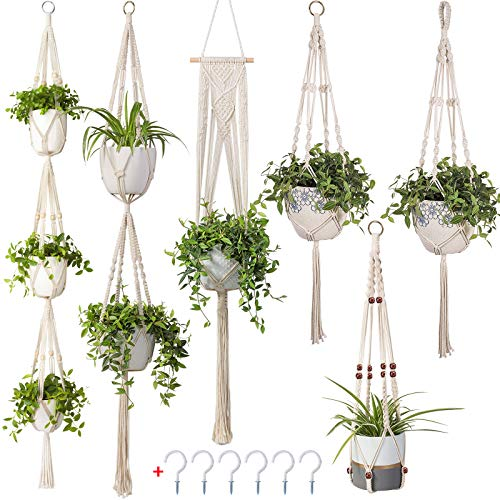 6 Pack Macrame Plant Hangers, MENOLY Hanging Planter Different Tiers, Handmade Rope, Hanging Plant Holder Stand with 6 PCS Hooks for Indoor Outdoor Boho Home Decor