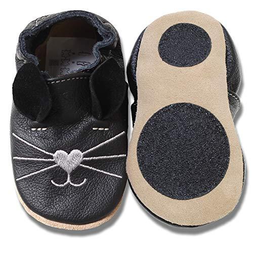 HOBEA-Germany Baby Lauflernschuhe Tiermotiv mit Anti-Rutsch-Sohle, Kinder Hausschuhe Mädchen & Jungen, Lederschuhe Baby (26/27 (30-36 Mon), Katze schwarz)
