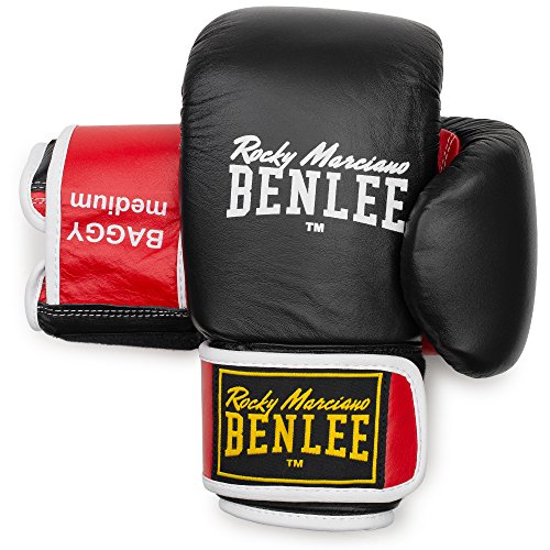 BENLEE Rocky Marciano Unisex – Erwachsene Baggy Leather Bag Mitts, Black/Red, XL