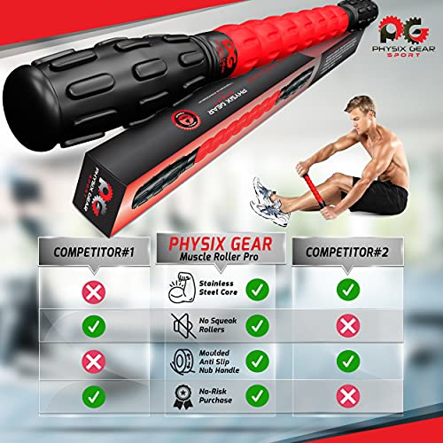 Massage Roller Stick Pro - Best Body Roller for Muscles Deep Tissue, Sore Calf, Cramps, Back Tightness, Knots, Myofascial Release, Physical Therapy, Recovery - Muscle Roller Stick for Athletes (Red)