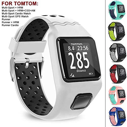 Peedeu Silikon-Uhrenarmband für Tomtom Runner 1, Doppelfarbiges Ersatzband mit Schließe, Sportarmband für Tomtom Multi-Sport/Runner 1