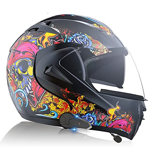 Casco plegable para motocicleta Casco modular Bluetooth integrado, certificación ECE/DOT Mp3 FM Función de llamada instantánea para 2-3 personas Four Seasons Cool Colors 1,XS