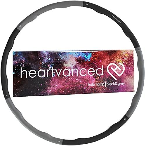 heartvanced Hula Hoop Reifen für Erwachsene 1,2 kg Schwarz Grau für Anfänger und Fortgeschrittene zum Abnehmen zerlegbar in 6 Einzelteile