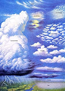 Clouds Poster, Cloud Classification Poster, Weather, Lightning, Clouds, Stratus, Cirrus, Cumulonimbus