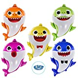 Shark Baby Balloons - EQARD Huge Helium Balloons,Cute Shark Party Supplies for Sea World,Shark Baby Theme Birthday Party Balloons Decorations Baby Shower Supplies(5 Pcs)
