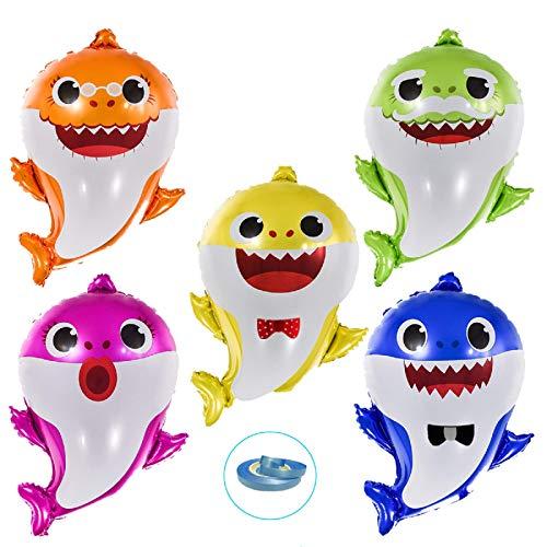 """Globos de Tiburón Bebé - EQARD 25"""" Globos de papel de la Familia de Tiburones para Suministros de Fiesta Temática de Tiburones/Decoraciones de Fiesta de Baby Shower"""