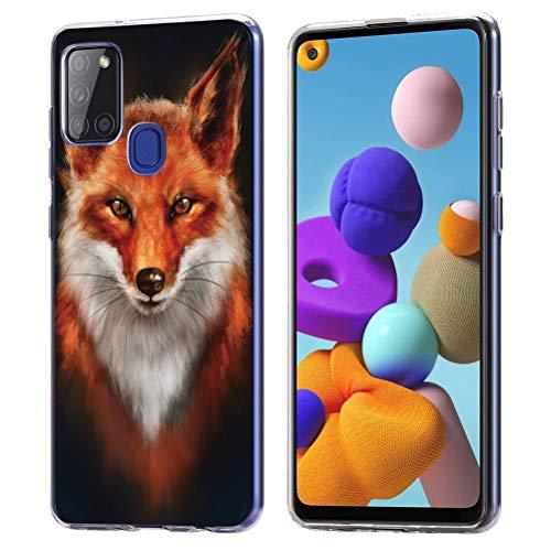 Yoedge für Samsung Galaxy A21s 4G Hülle, Silikon Transparent TPU Schutzhülle Handyhülle mit Muster Motiv Hülle Superdünn Stoßfest Rückschale Tasche Weiche Cover für Samsung A21s 4G, Fuchs