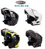 Casco Bluetooth Moto Viper RS-V171 Adulti Casco Modulare Flip-up Sportivi Casco Motocicletta Touring, Nero Opaco (Matt Black,XS)