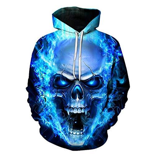 Blu-ray Skull Unisex 3D Print Hoodie Cool Lightweight Pullover Hooded Sweatshirt-XL