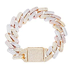 Tri-Color Gold Plated Cubic Zirconia Box Link Bracelet