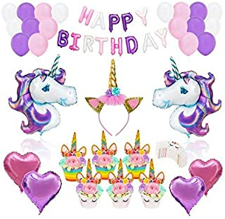 UNICORN PARTY SUPPLIES DECORATIONS- 12 guests Complete Set Cake Cupcake Toppers, Gold Headband, Helium Foil Balloons, Heart Balloons, Happy Birthday Banner, Gifts, Favors For Girl First 1st Birthday
