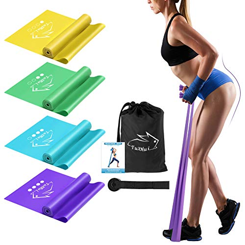 Resistance Bands Set of 4 Non-Latex Elastic Exercise Bands Workout Bands with Door Anchor for Women Men Home Workout, Strength Training, Physical Therapy, Yoga, Pilates, Rehab, Stretching