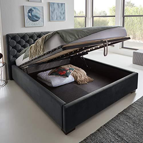 Designer Bett mit Bettkasten ELSA Samt-Stoff Polsterbett Lattenrost Doppelbett Stauraum Holzfuß schwarz (Anthrazit, 140 x 200 cm)