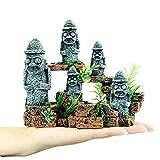 DALEI Acuario Decoraciones de estatuas de la Isla de Pascua: pecera Detalles realistas Estatuas, Acuario ecológico Accesorios para acuarios