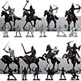 Kangkangk Knights Toys Plastic Crafts 28 PCS Warriors Horses Soldiers Model Figurines Creative Gifts Medieval Knights Miniatures Home Table Decorations