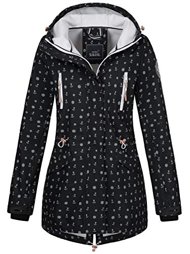 Sublevel Damen Softshell-Jacke Kurzmantel LSL-367 Anker-Alloverprint Black M