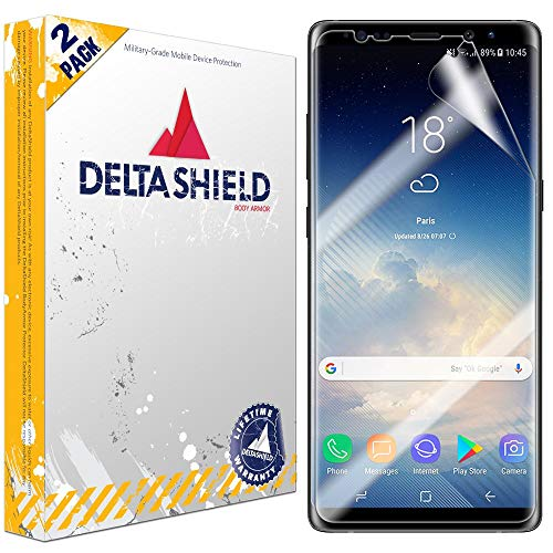 DeltaShield Screen Protector for Samsung Galaxy Note 8 (2-Pack)(Case Compatible Design) BodyArmor Anti-Bubble Military-Grade Clear TPU Film