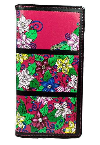 Shagwear ® Portemonnaie Geldbeutel Damen Geldbörse Mädchen | Bifold Mehrfarbig Portmonee Designs: (Garten Raupe Fuchsia/Caterpillar Garden)