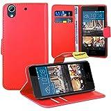 HTC Desire 728G Handy Tasche, FoneExpert® Wallet Case Flip Cover Hüllen Etui Ledertasche Lederhülle Premium Schutzhülle für HTC Desire 728G (Rot)