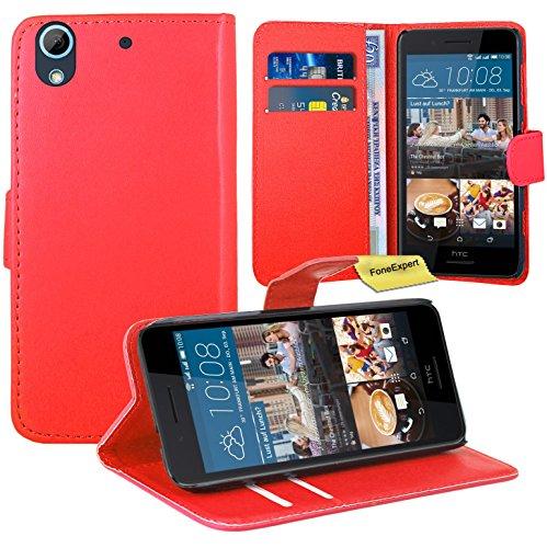 FoneExpert® HTC Desire 728G Handy Tasche, Wallet Hülle Flip Cover Hüllen Etui Ledertasche Lederhülle Premium Schutzhülle für HTC Desire 728G (Rot)