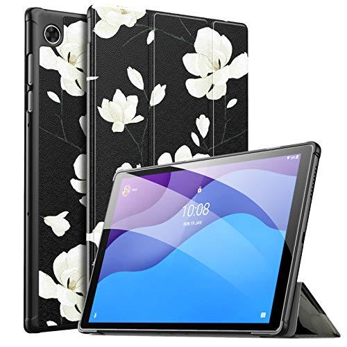 MoKo Funda Compatible con Lenovo Smart Tab M10 HD 2nd Gen/Tab M10 HD 2nd Gen, Ultra Slim Ligera Función de Soporte Protectora Plegable Smart Cover Cubierta Auto Sueño/Estela, Negro & Blanco Magnolia