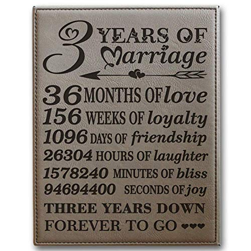 BELLA BUSTA- 3 Years of Marriage -Months, Weeks, Days, Hours, Minutes, Seconds-3rd Our 3rd Wedding Anniversary-Engraved Leather Plaque (Light Brown)