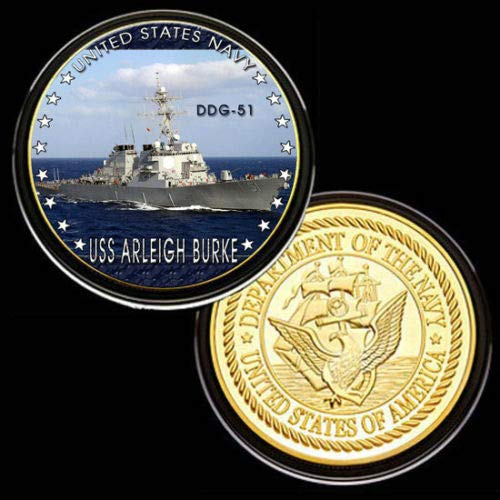 U.S. United States Navy | USS Arleigh Burke DDG-51 | Gold Plated Challenge Coin