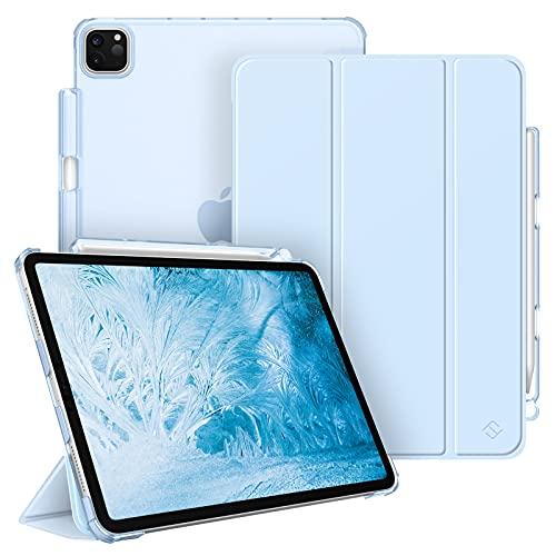 FINTIE Funda para iPad Pro 11' (3.ª Generación, 2021) - Carcasa Ligera con Portalápiz Trasera Transparente Mate Auto-Reposo/Activación Compatible con iPad Pro 11' 2020/2018, Azul Claro