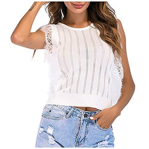 Buy Bargain ANJUNIE Womens Mesh Tank Tops Loose O-Neck Neck Lace Panel Short Slim Camisole Shirt Tee...