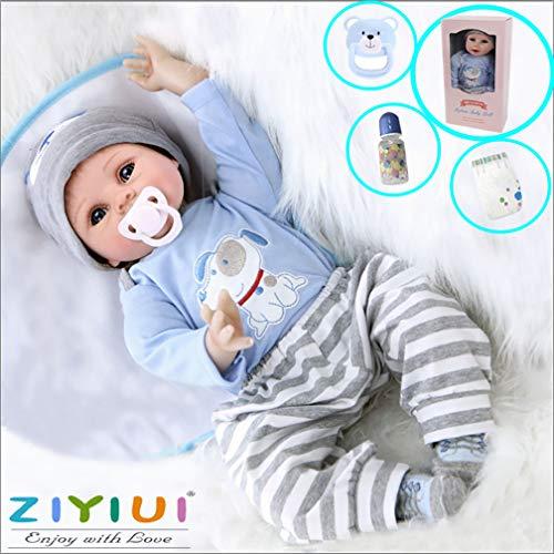 ZIYIUI Reborn Babys Junge 22'' 55CM Lebensechte Reborn Babypuppen Silikon Vinyl Doll Boy Günstig Magnetisches Spielzeug