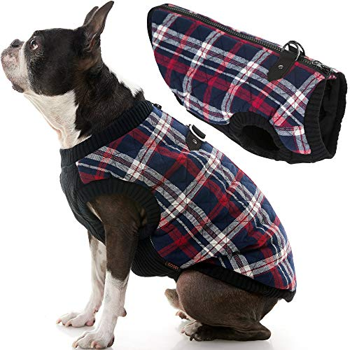 Gooby Fashion Dog Vest - White Check, Large - Small Dog Sweater Bomber Dog Jacket Coat with D Ring Leash and Zipper Closure - Dog Clothes for Small Dogs Girl or Boy for Indoor and Outdoor Use