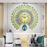 Relojes de Pared Reloj de Pared Pavo Real de Cristal 3D Decoración para el hogar Reloj de Cuarzo Silencioso Adecuado para Sala de Estar