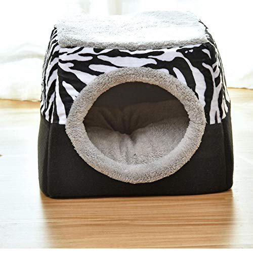 Dog Bed for Small Medium Dogs, Washable Pet Bed Sofa Soft Coral Fleece Warm Dog Basket Cats Bed-L-35*33*40cm_Zebra pattern