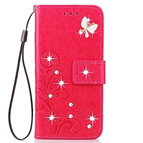 Custodia per Motorola Moto G7 Power , fatta a mano, in pelle sintetica, con supporto per carte di credito, custodia a portafoglio per Motorola Moto G7 Power Custodia con supporto. Rosso rosato