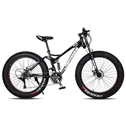 XHJZ 24in Mountain Bike per Gli Uomini Adulti e Donne, Alta Acciaio al Carbonio Doppia della Sospensione Telaio Mountain Bike, 21/24/27 velocità Outroad Bike Spoke,B,24 Speed