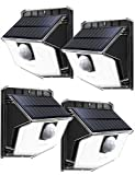 LITOM Solar Lights Outdoor, IP67 Waterproof Solar Powered Motion Sensor Lights 60 LEDs Wireless Solar Security Wall Lights for Front Door, Garden, Patio, Yard, Garage, Deck, Driveway 4 Pack Cold White