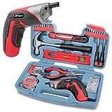 Conjunto de herramientas para bricolaje casero de 35 piezas a rojo con un destornillador eléctrico recargable por puerto USB. Herramientas manuales y un conjunto de accesorios de 40 piezas