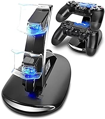 PS4 Controller Charger, ELM Game Playstation 4/ PS4/ PS4 Pro/ PS4 Slim Controller Charger Charging Docking Station Stand Dual USB Fast Charging Station & LED Indicator for Sony PS4 Controller, Black