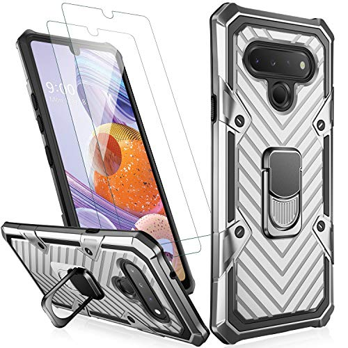 MERRO LG Stylo 6 Case with Screen Protector,Pass 16ft. Drop Tested Military Grade Heavy Duty Shockproof Cover with Magnetic Kickstand for Car Mount,Protective Phone Case for LG Stylo 6 Silver