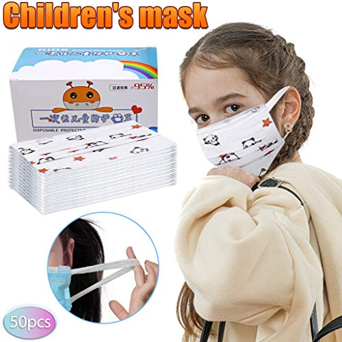 50 Stück Kinder Gesicht Bandanas mit Atemventil Gedrucktes Cartoon-Muster Gesicht Bandanas Atmungsaktiv mit Ventilfilter für Jungen und Mädchen (A)