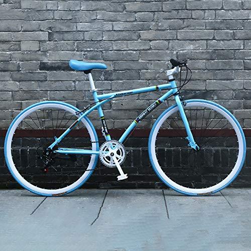 AURALLL Route Vélos Vélo de Route Racing Hommes et Les Femmes, en Acier au Carbone Haut Bike Racing 7 Vitesse Dérailleur système et Double V-Brake Aluminium Tige de Conception,Vert