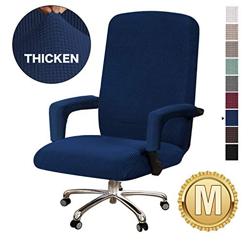 BellaHills Armchair Sofaslipcover Rich Jacquard Stretch Office Chair Cover 1-Piece Covers for Medium Armchair, Sofa Covers, Furniture Protector with Elastic Bottom, Anti-Slip Foams Attached, Navy