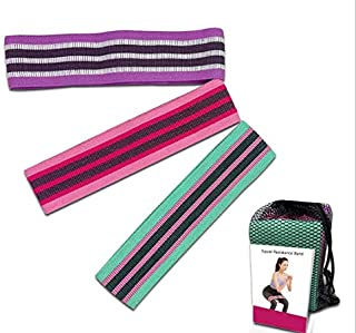 Resistant Bands for Legs and Butt Sports Fitness Bands Exercise Loops Hip Thigh Glute Bands Non-Slip Fabric Elastic Strength Squat Band with Carrying Bag, Workout Beginner to Professional (3 pack)
