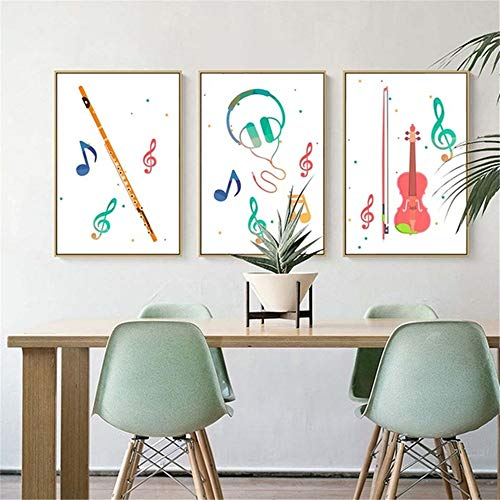 Nordic Home Decoration Poster Life Quote Wall Art Canvas Painting Cuadro decorativo Instrumentos musicales Instrumento musical 3 piezas 40x60cm sin marco