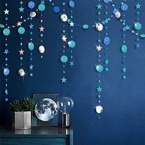 FLYAND Ice Blue Silver Circle Dot Garland kit for Navy Blue Twinkle Little Star Party Decoration Hanging Bunting Banner Steamer Backdrop Background for Baby Shower/Christmas/Birthday/Prom/Graduation/W